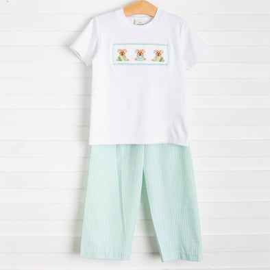 Easter Parade Smocked Pant Set, Mint