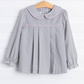 Stitchy Fish Mary Top, Grey Gingham