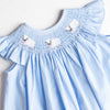 Little Ewe Smocked Bishop Dress, Blue