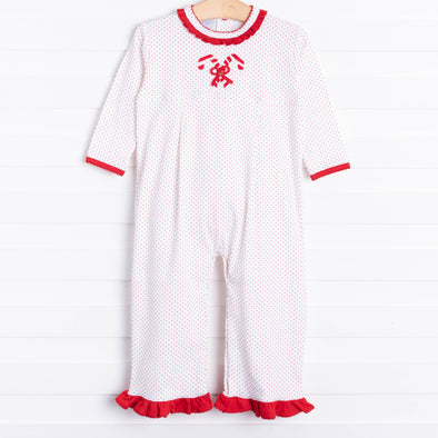 Squiggles Candy Cane Romper, Red Dot