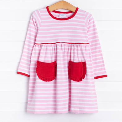 Squiggles Daphne Dress, Pink/Red