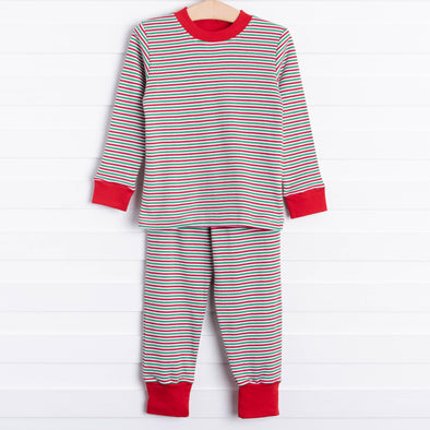 Squiggles Derrick Pant Set, Red/Green Stripe