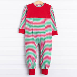 Squiggles Rhett Romper, Red/Green Stripe