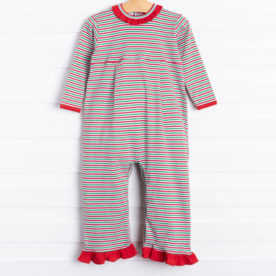 Squiggles Roxanna Ruffle Romper, Red/Green Stripe