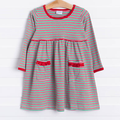 Squiggles Daphne Ruffle Dress, Red/Green Stripe