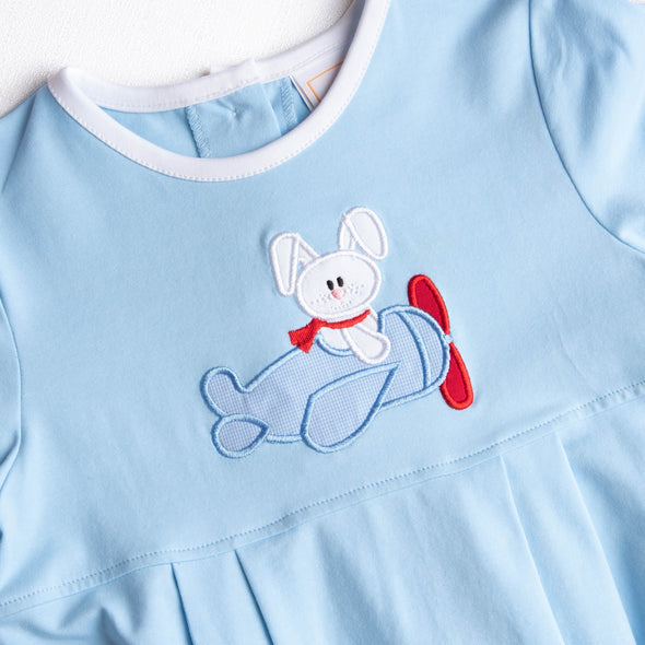 Bunny Takes Flight Applique Bubble, Blue