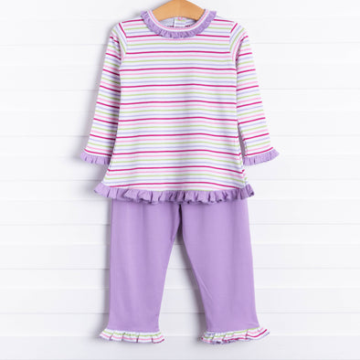 Squiggles Penny Ruffle Pant Set, Lilac Multi Stripe