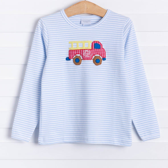Squiggles Five Alarm Applique Shirt, Blue Stripe