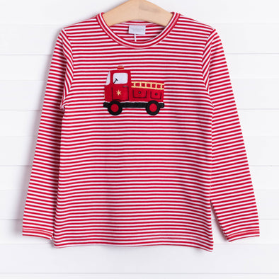 Squiggles Fire Truck Applique Shirt, Red Stripe