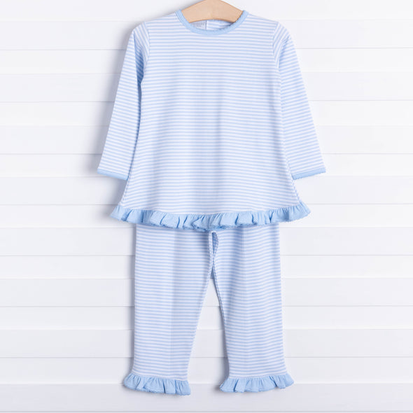 Squiggles Penny Ruffle Pant Set, Blue Stripe