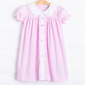 Sweetheart Embroidered Ruffle Dress