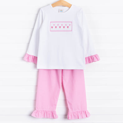Sweetheart Smocked Ruffle Pant Set