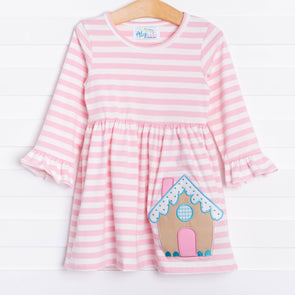 Gingerbread Pink Striped Dress