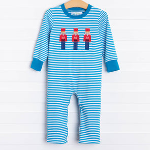 Toy Soldier Blue Striped Romper