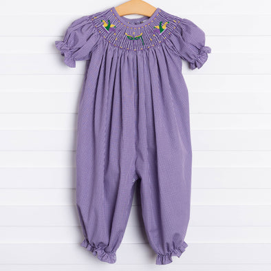 Mardi Gras Smocked Ruffle Long Bubble