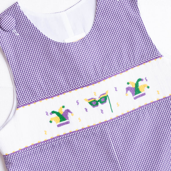 Mardi Gras Smocked Long Jon Jon