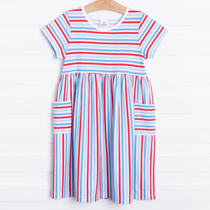 Summer Sailing Knit Dress, Red