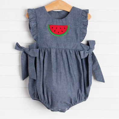 One In A Melon Applique Bubble, Denim