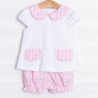 Big Check Bloomer Short Set, Pink Plaid