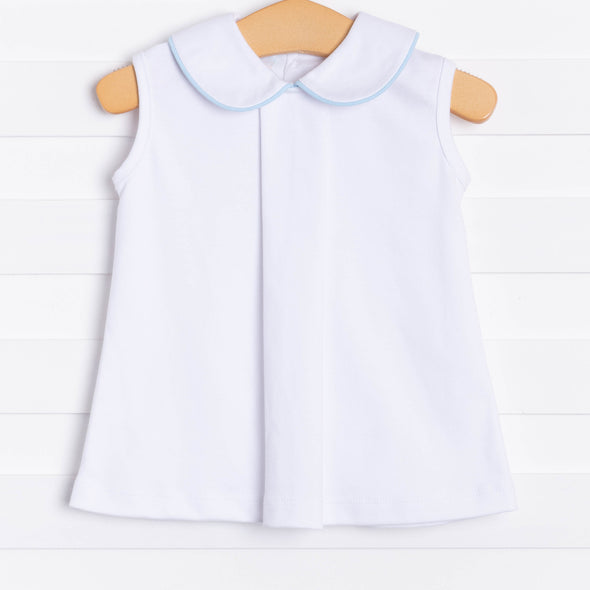 Little White Pleated Top (Piping, 2 Options)