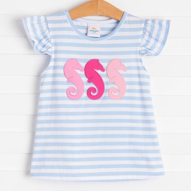 Seahorse Magic Applique Shirt, Blue Stripe