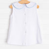 Little White Pleated Top, Piping