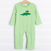 Court Jester Croc Applique Romper, Green Stripe