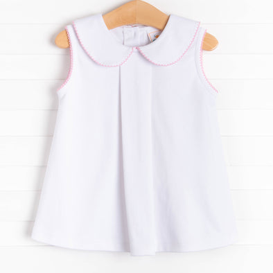 Little White Pleated Top, Picot