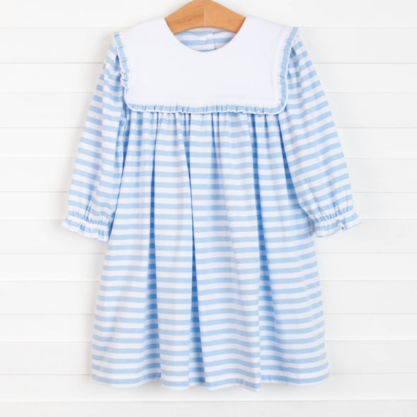 Annie Dress, Blue/Green Seersucker