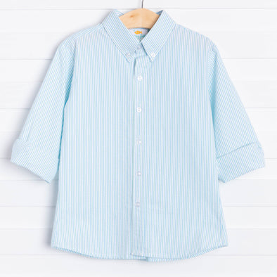 Mitchell Shirt, Blue/Green Seersucker