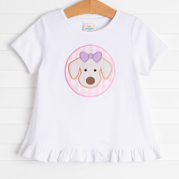 Bow Wow Applique Ruffle Shirt, Pink Check
