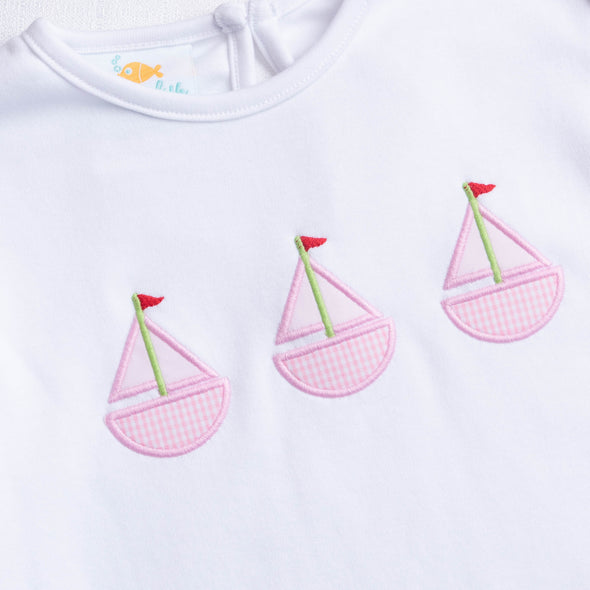 Sailboat Trio Applique Shirt, Pink