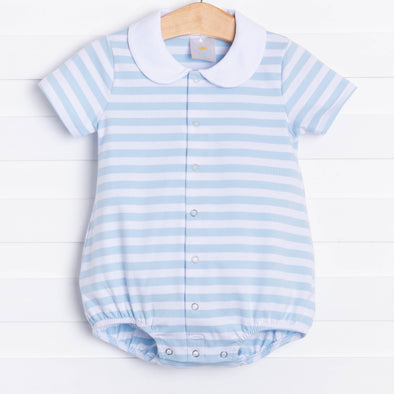 Little Boy Blue Bubble with White Collar, Cloud Stripe