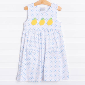 Lucky Lemon Applique Dress, Blue Dot