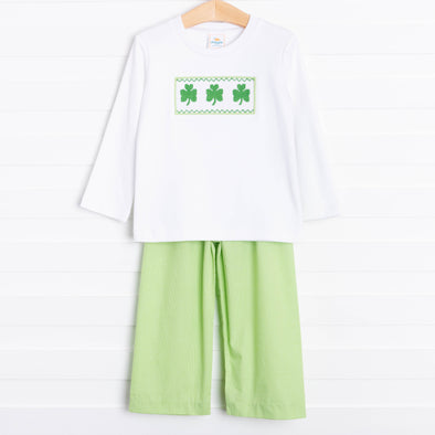 Shamrock Smocked Panel Pants Set