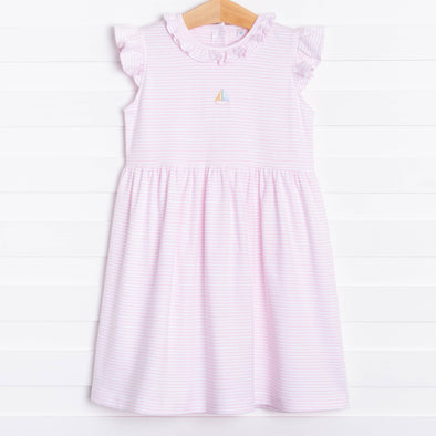 Aurora Angel Sleeve Pima Dress, Pink Stripe