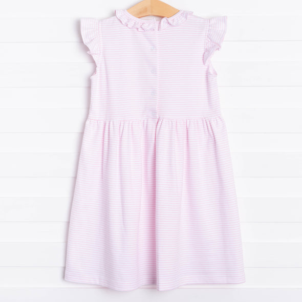 Aurora Angel Sleeve Dress, Pink Stripe