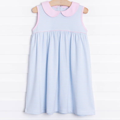 Marcella Pima Dress, Blue Stripe