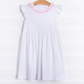 Aurora Angel Sleeve Dress, Pink MicroDot