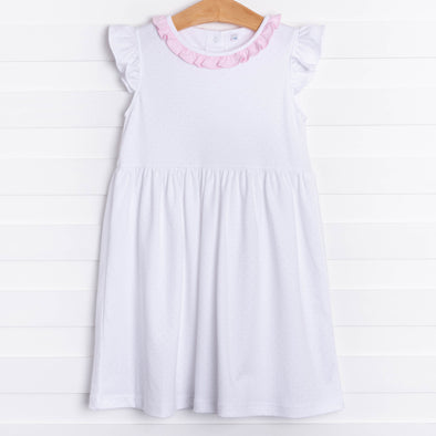 Aurora Angel Sleeve Pima Dress, Pink MicroDot
