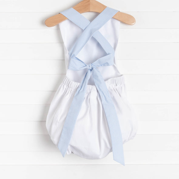At the Pier Cross Back Sunsuit, White