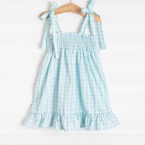 Look to the Sea Smocked Top Dress, Mint/Blue Check