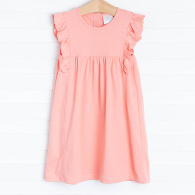 Lillie Flutter Pima Dress, Peach