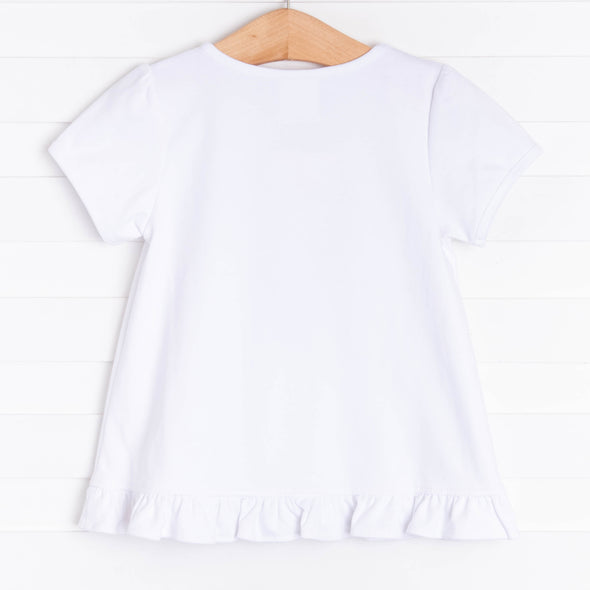 Sky's The Limit Applique Ruffle Shirt, White