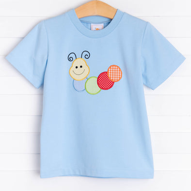 The Very Happy Caterpillar Applique Shirt, Blue