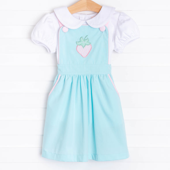 Berry Sweet Applique Dress, Aqua
