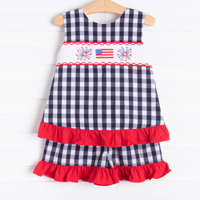 Free to Sparkle Ruffle Short Set, Navy Check
