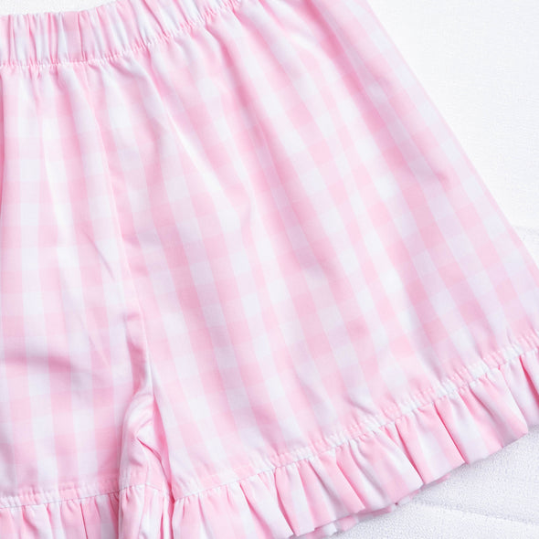 Big Check Short Set, Pink Plaid