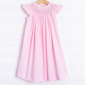 Tulip Geometric Smocked Dress, Pink