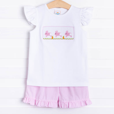Don't Worry Be Hoppy Smocked Short Set, Pink Gingham